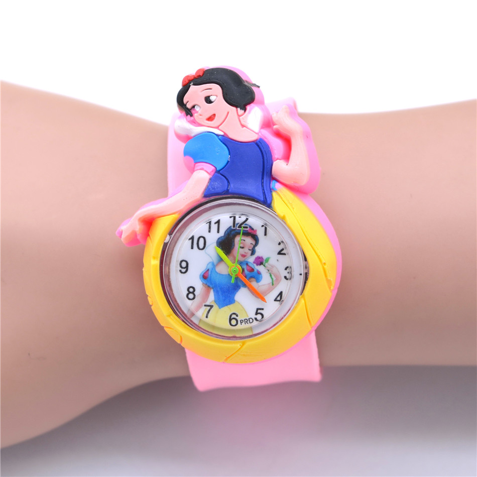 Children Cartoon Watches For Girls 3D Snow White Princess Watch Students Quartz Clock Cute Rubber Slap Belt Wristwatch Toy Gifts