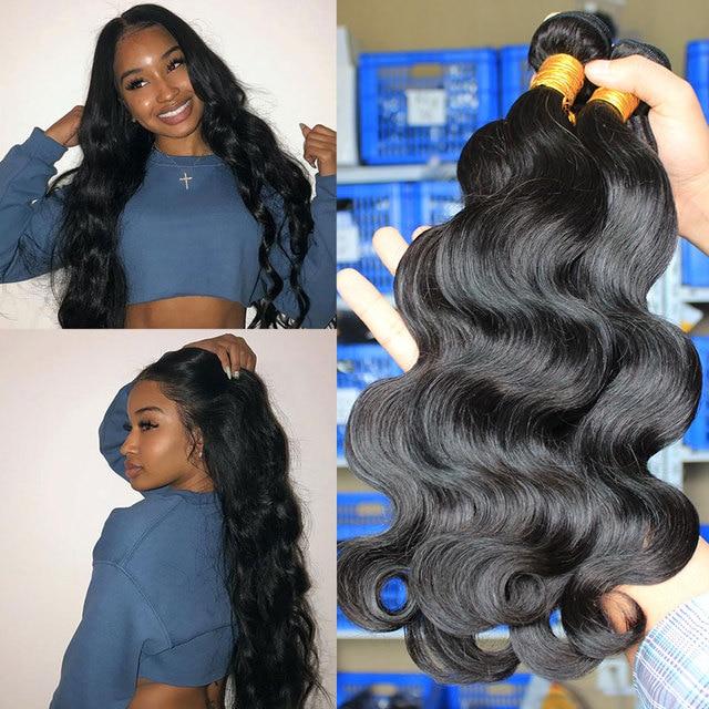 Ever Beauty extensiones de pelo ondulado brasileño, mechones ondulados con cierre, extensión de cabello humano, 3 en oferta de extensiones, color negro Natural virgen