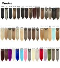 Eunice cabelo 22 polegada 7 pçs/set 16 Clipes de Alta Tempreture Reta Longa Extensão Do Cabelo Grampo em Extensões Do Cabelo Aplique Sintético