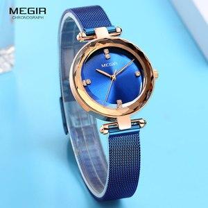 Image 2 - MEGIR Relógio de Luxo Mulheres Marca de Topo Vestido À Prova D Água Relogio feminino Malha Azul Milan Pulseira Moda Relógios de Quartzo Senhora 4211
