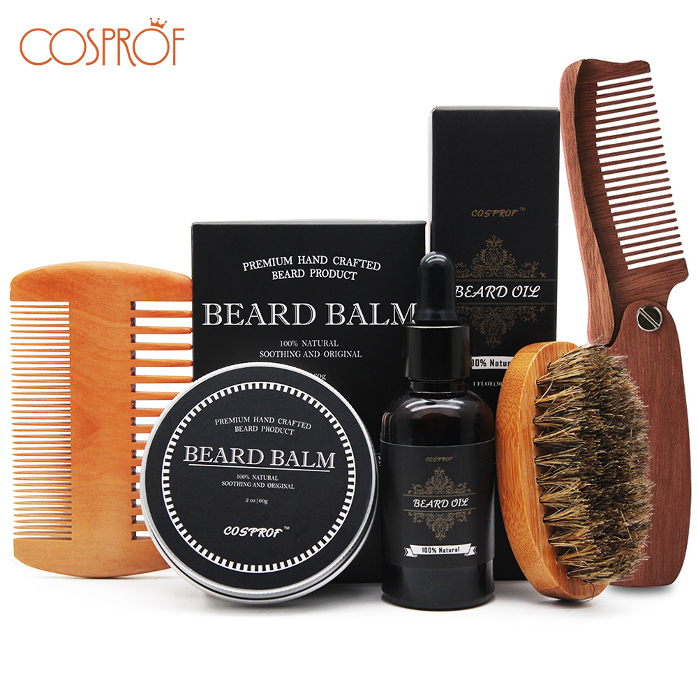 Cosprof Beard Balm Beard Oil Conditioner Balm Healthy Moisturizing Moustache Wax Brush Comb Natural Organic Styling Set|Hair Loss Products|   - AliExpress