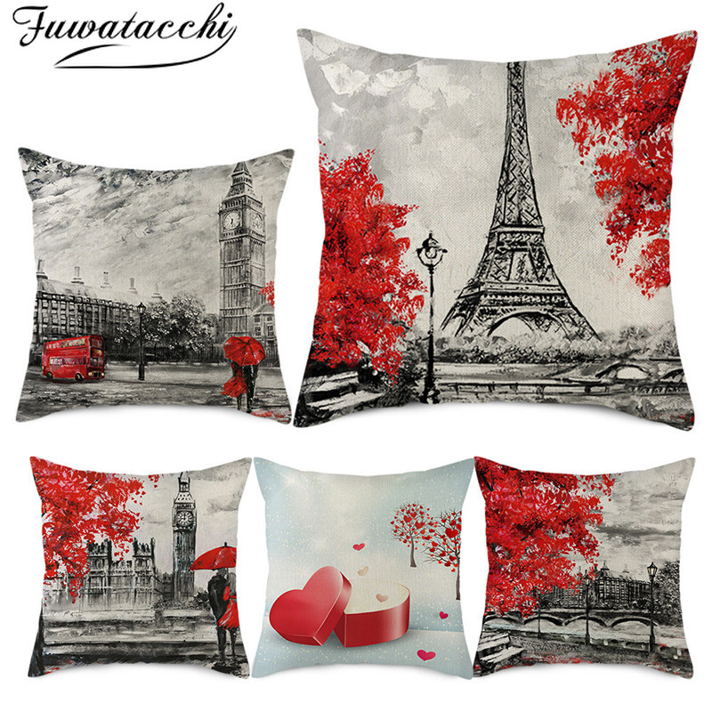 Fuwatacchi Pure Linen Cushion Cover Red Love Pattern Pillow Cover For Home Chair Sofa And Car Decorative Pillowcases 45x45 Cm