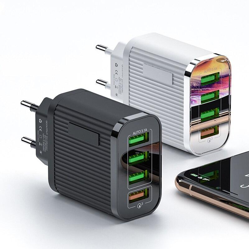 Cargador rápido de 35W QC 3,0 con 4 puertos USB de carga rápida 3,0 cargador de teléfono para iPhone 11 Xiaomi para Huawei adaptador de cargador de viaje de pared Base de carga inalámbrica Baseus 15W Qi soporte de carga rápida para teléfono almohadilla de carga inalámbrica multifuncional para iPhone 11 Pro Samsung