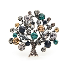 Wuli&baby Crystal Tree Brooches Women Metal Rhinestone Plants Weddings Casual Brooch Pins Gifts