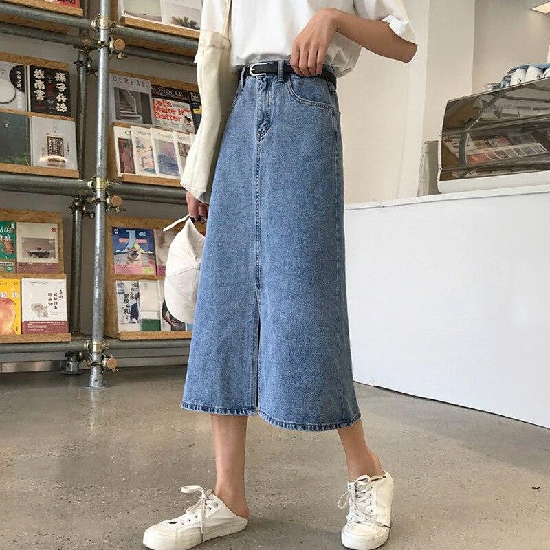Summer 2019 Popular New Style WOMEN'S Dress Denim Skirt Korean-style Students Summer Mid-length Retro High-waisted Skirt