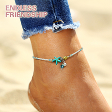 Fashion Bohemian Imitation Pearls Starfish Charms Bracelets Anklets for Women Summer Foot Chain Shell Jewelry