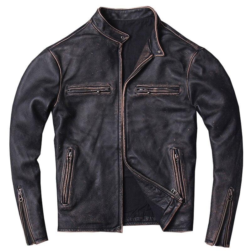 2019 Do Vintage Dos Homens Slim Fit Jaqueta de Couro Da Motocicleta Plus Size XXXXL Preto Genuíno Couro Primavera Casaco Curto Motociclista FRETE GRÁTIS