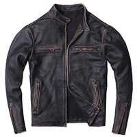 2019 Vintage Black Men Slim Fit Motorcycle Leather Jacket Plus Size XXXXL Genuine Cowhide Spring Short Biker Coat FREE SHIPPING