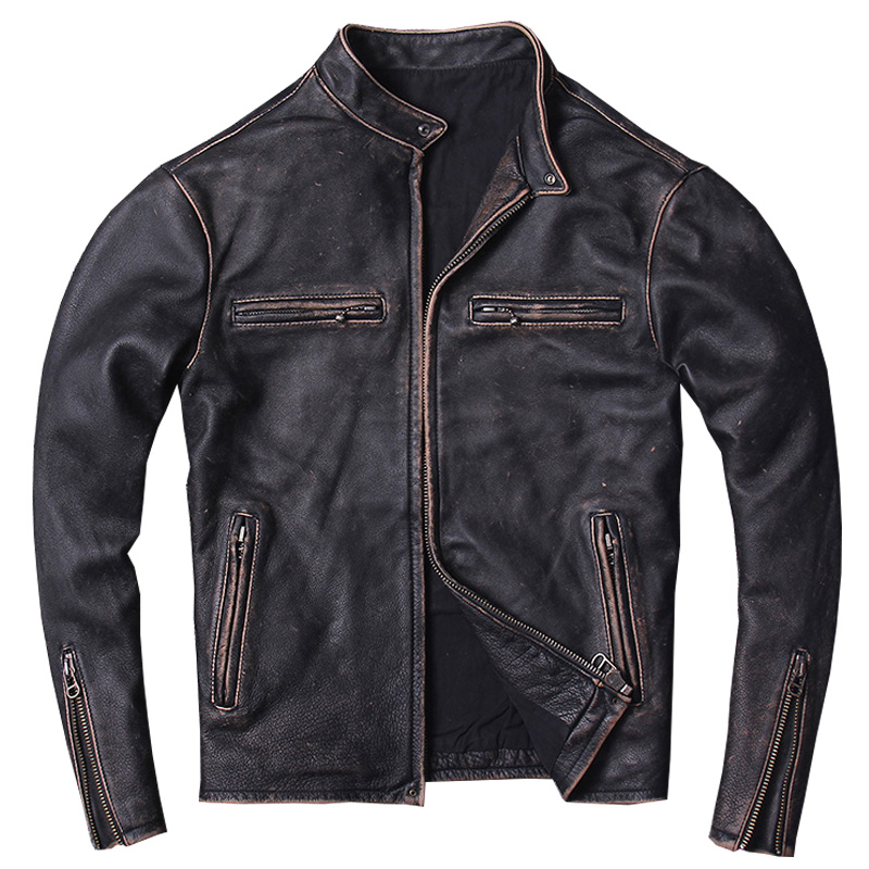 2020 Vintage Black Men Slim Fit Motorcycle Leather Jacket Plus Size XXXXL Genuine Cowhide Spring Short Biker Coat FREE SHIPPING
