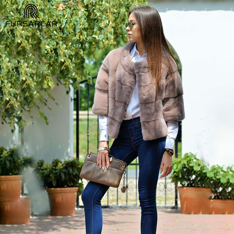 FURSARCAR Winter Batwing Sleeve Real Mink Fur Coats Women Genuine Mink Fur Coat With Stand Collar Elegant Mink Fur Female Jacket