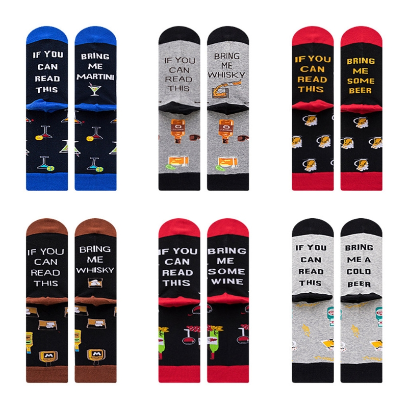 VOVOL Unisex Women Men If You Can Read This Long Crew Sock Funny Saying Beer Wine Letter Hosiery