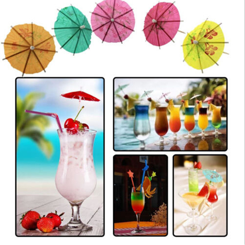 Cocktail Cup Decors Mini Umbrella <font><b>50</b></font> PCS Cake Fruit Dessert Decors Small Umbrella Sign DIY Mini Umbrella Sign Decorating Tool image