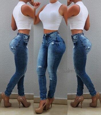 Women High Waist Stretch Denim Jeans Butt Lift Pencil Pants Ladies Skinny Jean S-XXL