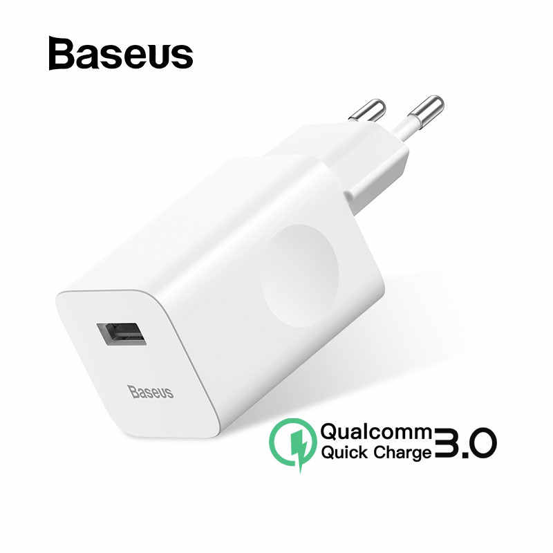 BASEUS 24W Quick Charge 3.0 USB Charger untuk Xiao Mi Mi 9 Samsung S7 USB Cepat Charger untuk iPhone 8 X Charger Dinding USB