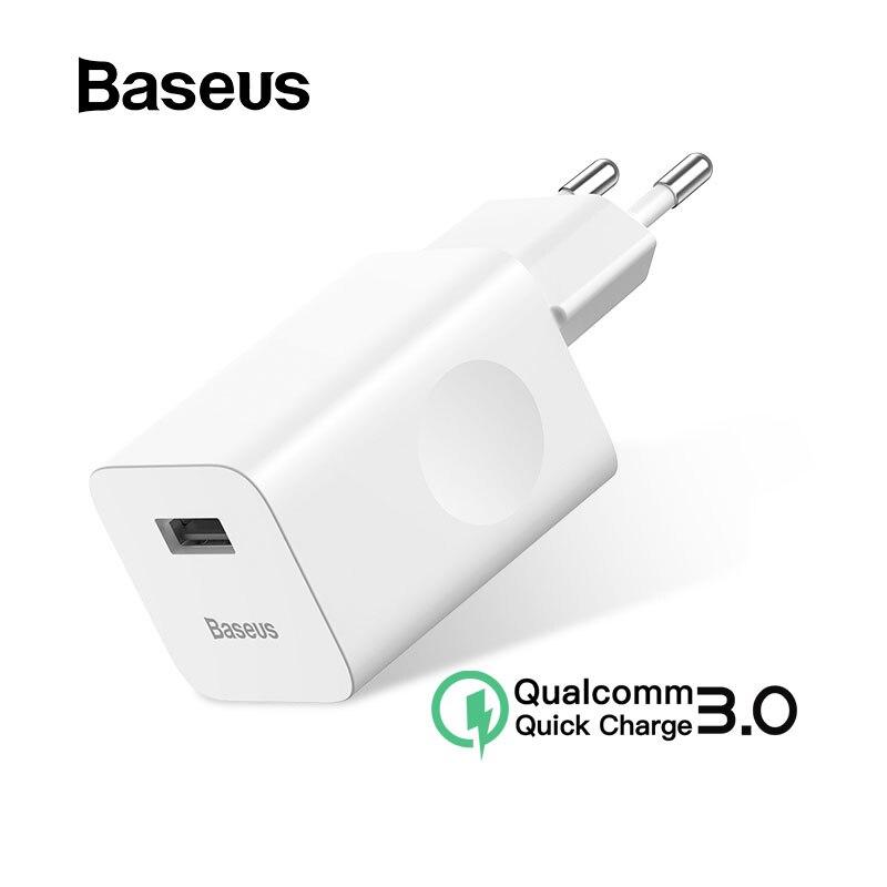 Baseus 24W Carga Rápida Carregador 3.0 USB Para Xiao mi mi 9 Samsung S7 USB Carregador de Telefone Rápido Para iPhone 8 X Adaptador de Carregador de Parede