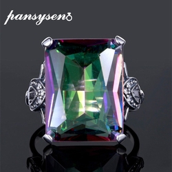 PANSYSEN Luxury 12x16MM Fire Mystic Rainbow Topaz Rings For Women Solid 925 Sterling SilverFine Jewelry Ring Anniversary Gifts