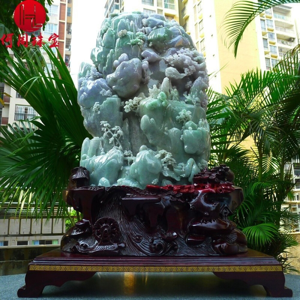 Hezhou jewelry!Myanmar natural jade!Landscape hand-carved decoration!Living room desk accessories!37.34jins 1