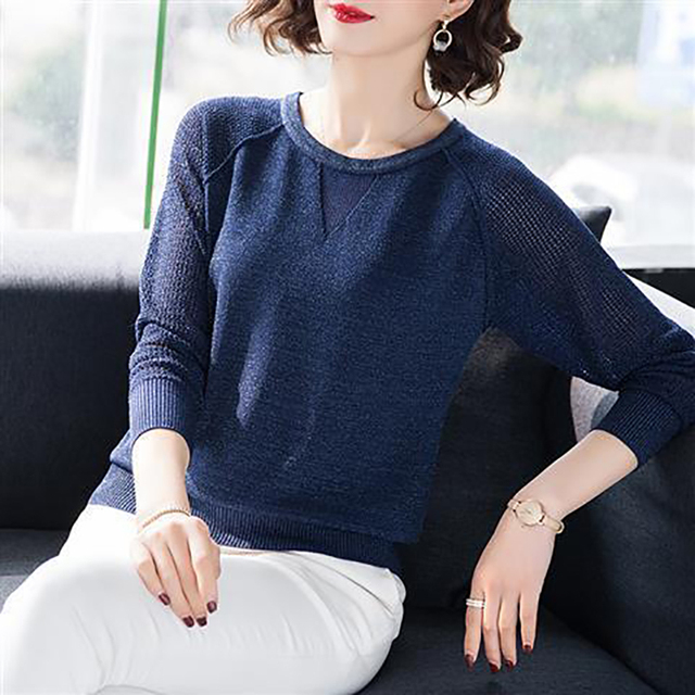 Women Spring Autumn Style Knitted Blouses Shirts Lady Casua Long Lace Sleeve O-Neck Knitted Blusas Tops DD8858 4
