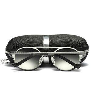 Image 5 - Мужские солнцезащитные очки, винтажные поляризационные очки в круглой оправе из алюминиево магниевого сплава, зеркальные очки для вождения