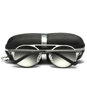 Image 5 - Brand Design Sunglasses Men Polarized Vintage Round Frame Sun Glasses Aluminum Magnesium Alloy Driver Glasses Driving Mirrors