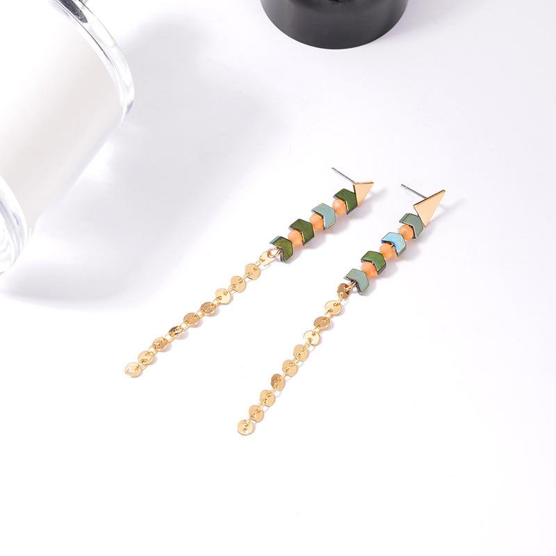NJ Classic Long Bead Pendant Earrings For Woman Elegant Drop Wedding Engagement Jewelry