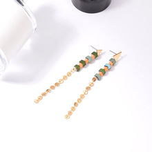 NJ Classic Long Bead Pendant Earrings For Woman Elegant Drop Wedding Engagement Jewelry