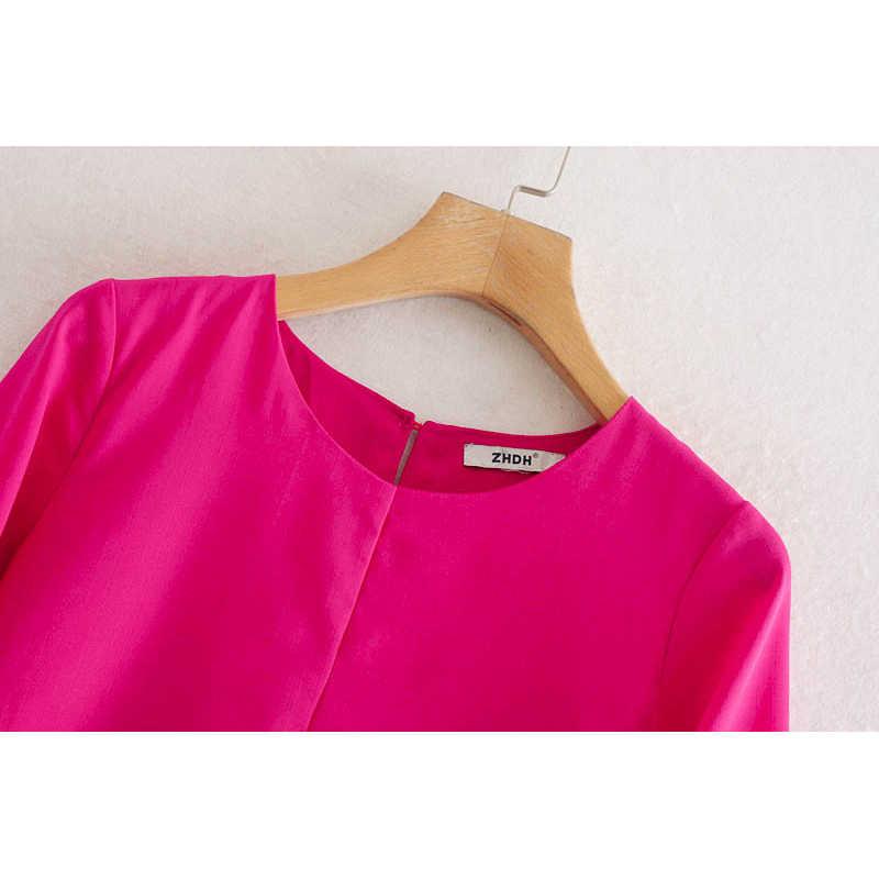 패션 za 여성 드레스 2019 가을 솔리드 컬러 활은 세련된 o-넥 긴 소매 캐주얼 루즈 드레스 여성 숙녀 vestidos