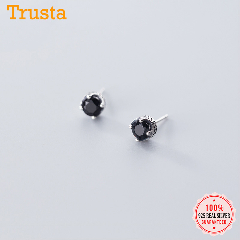 Trusta Authentic Minimalist 925 Sterling Thai Silver Sweet Black CZ Crown Stud Earrings For Women Sterling Silver Jewelry DA896