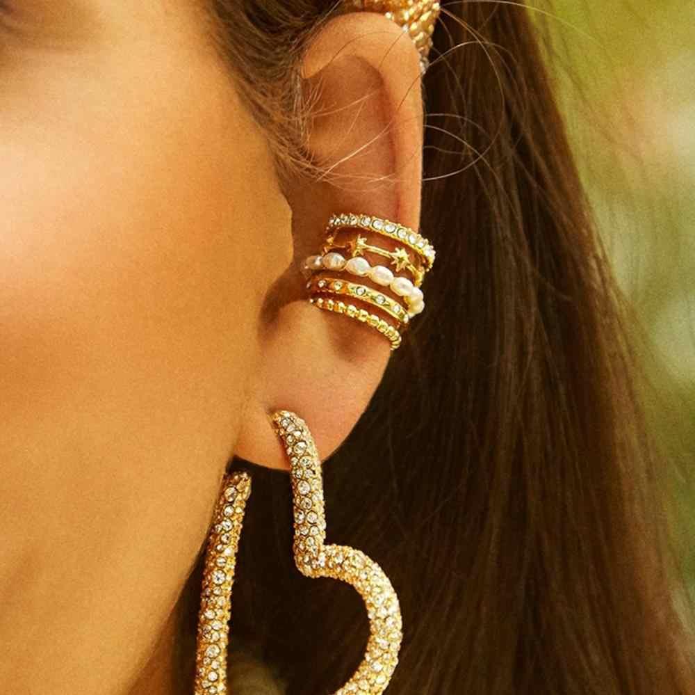 Szerokie wielowarstwowe naturalne perły earcuffs bez otworu pojedyncze ucho mankiet Pentagram Rhinestone bez przekłuwania uszu nausznice