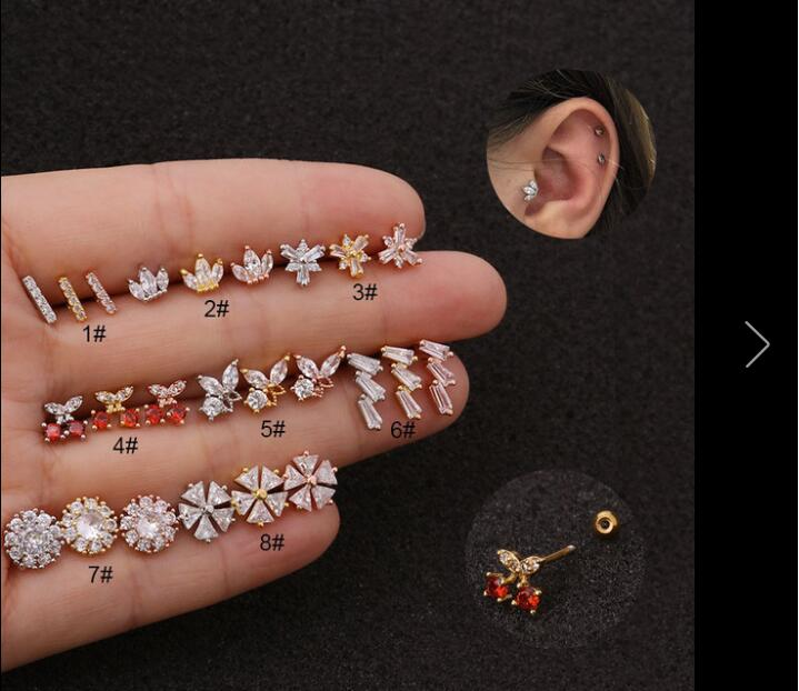 20g Stainless Steel Thin rod thread ear studs Cz Cartilage Conch Tragus creative cherry Stud Helix Cartilage Piercing Jewelry
