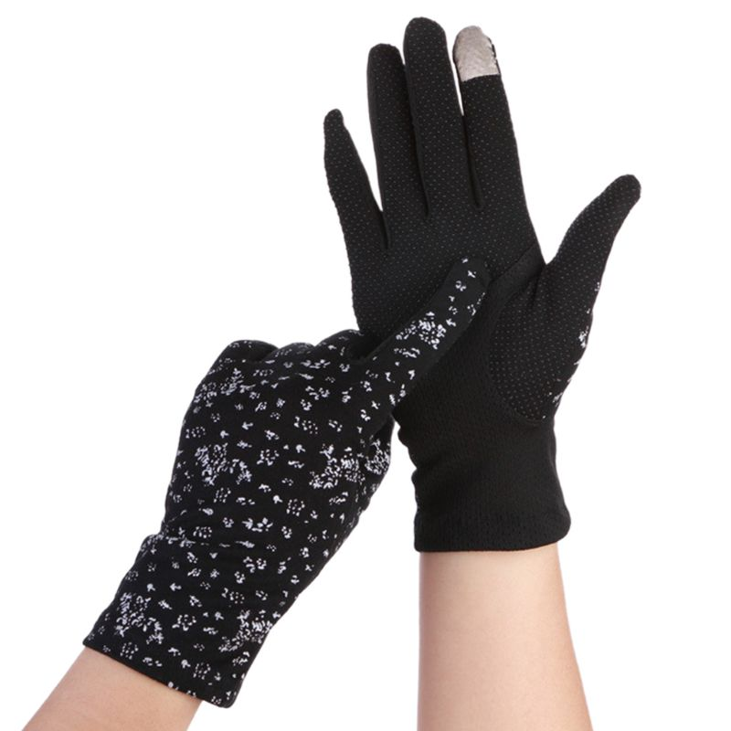 Women Summer Floral Ultra-Thin Touchscreen Gloves Non-Slip Mesh UV Sun Protection Solid Color Full Finger Driving Mitten