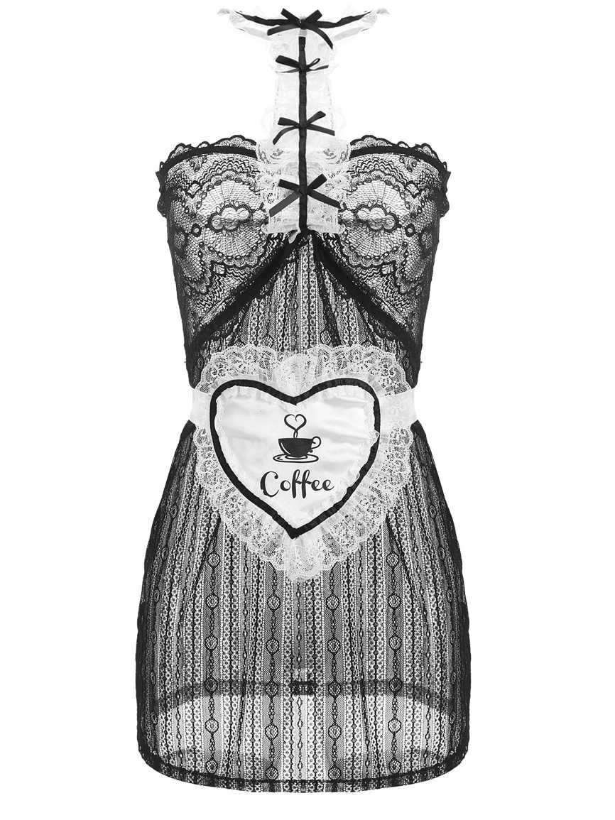 Sex Product Franse Maid Nachthemd Sexy Kostuums Vrouwen Teddy Lingerie Hot Lace See Through School Meisje Uniform Erotische Ondergoed