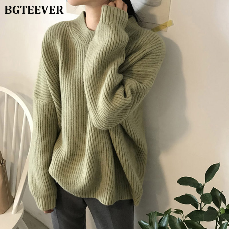Elegant Loose Long Sleeve Women Sweater Knitted Female Pullover Sweater Solid O-neck Ladies Autumn Winter Sweater Jumper 2019