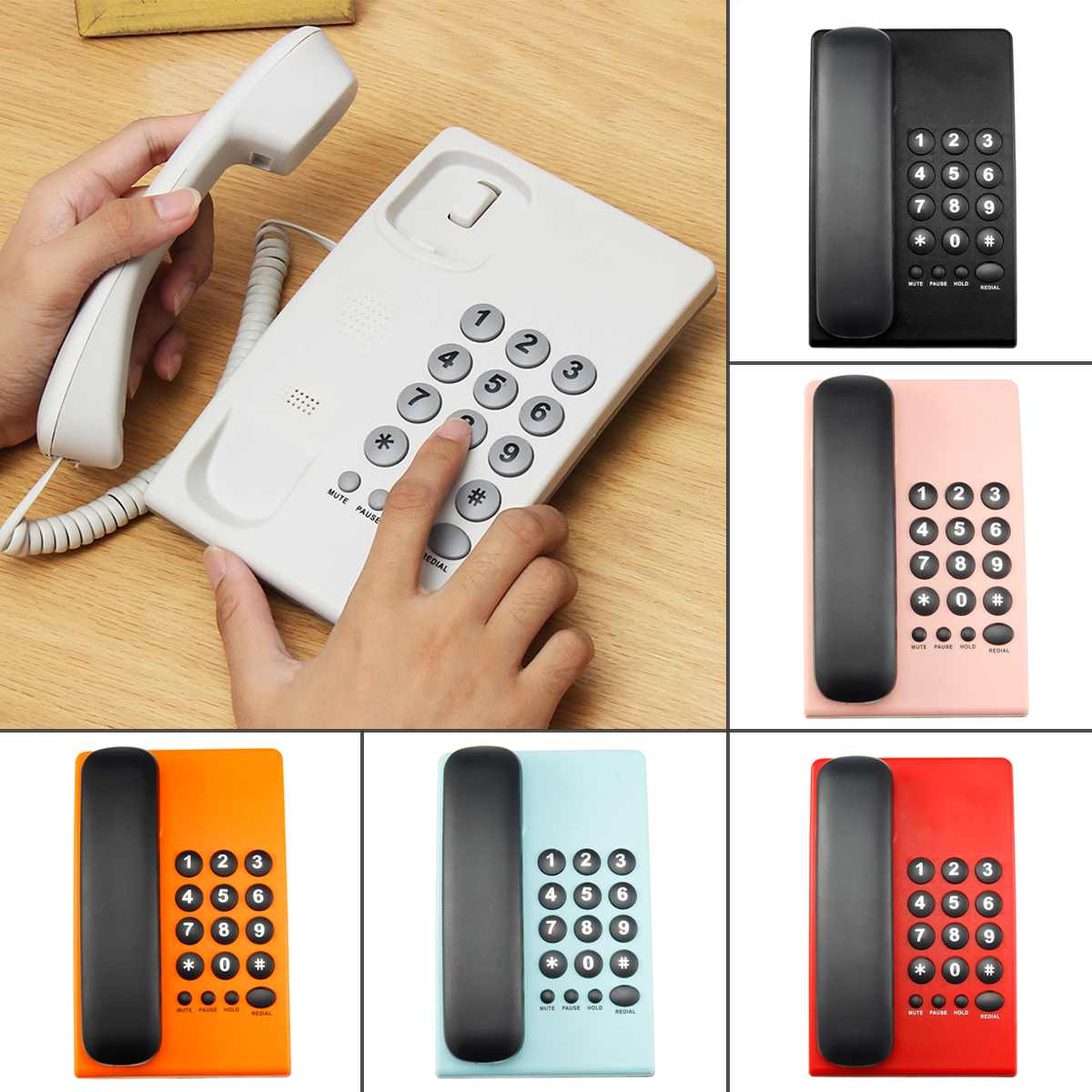 6 Colors Home Corded Phone Telephone Business Home Office Wall Mount Desktop Phone Redial Mute Pause function