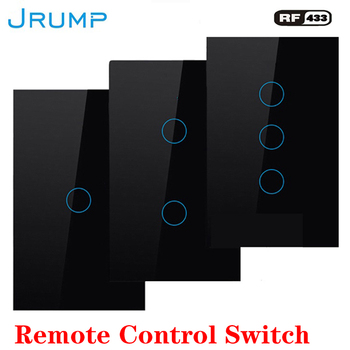 цена на US Standard Remote Control Touch Switch Wall Switch RF433 Wireless Interrupter Switch AC100-220V 1/2/3 GangTempered Glass Panl
