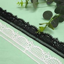 Water-soluble lace lace milk silk embroidery 4CM wide Korean lace accessories milk silk water soluble embroidery lace computer embroidery unilateral wave lace barcode clothing accessories
