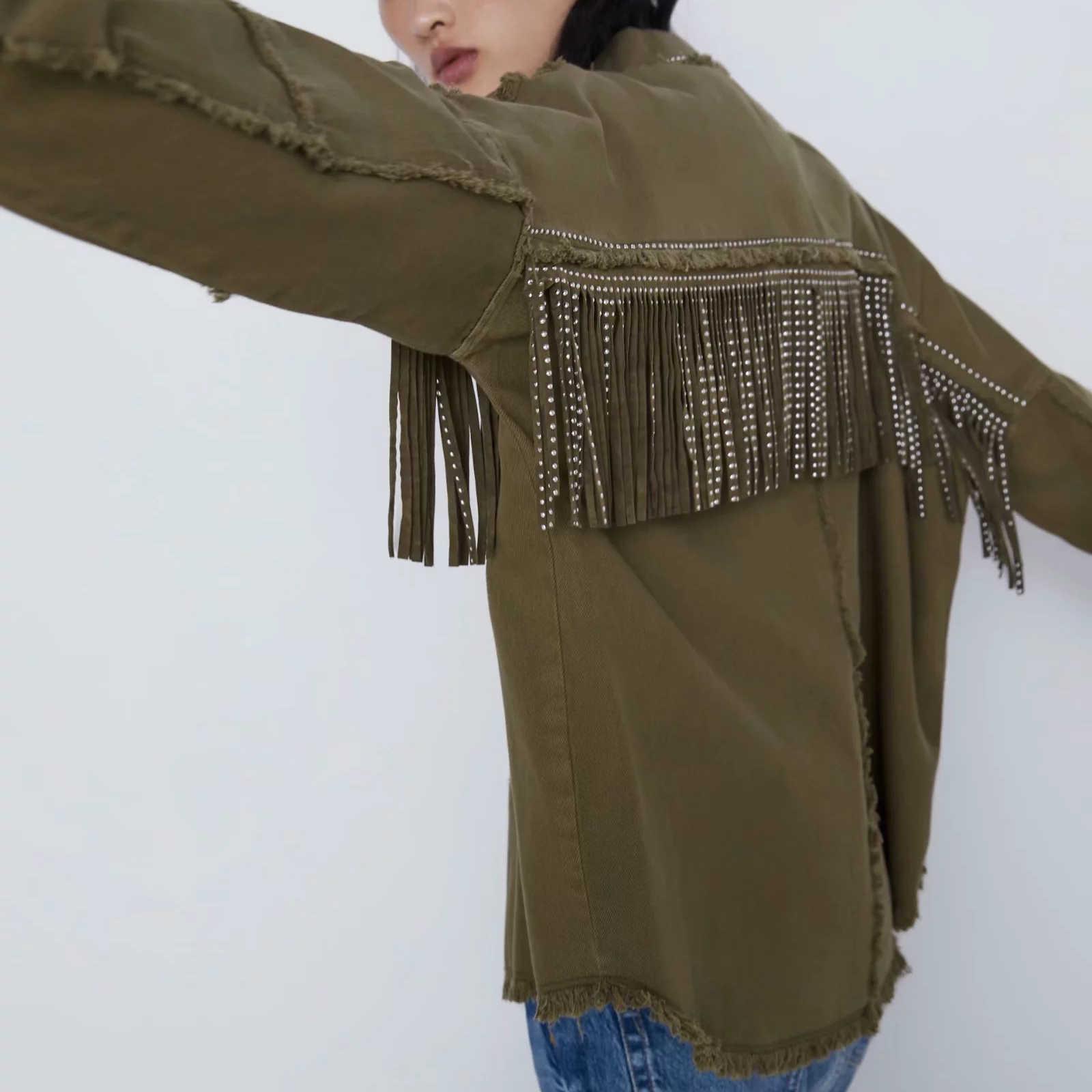 ZA jesienno-zimowa damska tassel frędzlami cekiny koszula płaszcz dżinsowy zieleń wojskowa ciepła odzież wierzchnia kobieta w stylu Vintage kobieta shirtwear kurtka