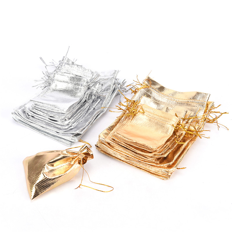 10PCS Drawstring Wedding Pattern Organza Party Gift Bags Candy Jewelry Pouches