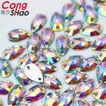 цена на Cong Shao 50-200pcs 6*12/7*12mm Drop shape Crystals AB Rhinestone Flatback sewing 2 Hole Stones Resin For DIY Wedding Dress WC66