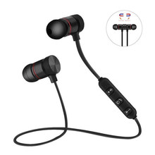 Nirkabel Bluetooth Earphone Logam Magnetik Stereo Olahraga Bass Cordless Headset Earbud dengan Mikrofon Headphone untuk Xiaomi LG(China)
