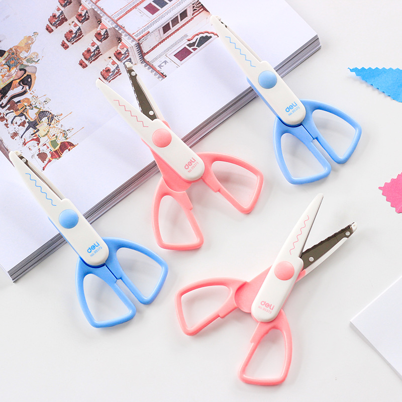 Deli 95373 Lace Scissors Safe Paper Cutting Decorative Pattern Photo Wave Sawteeth Diy Pda Children Handwork Scissors