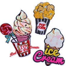5pcs ice cream embroidery applique large sequins embroidered patch stickers popcorn DIY clothes bag decoration stickers