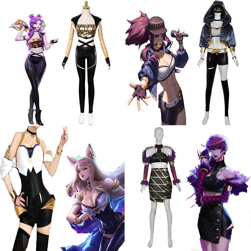 Game LOL Cosplay Costumes KDA Akali Kaisa Ahri Evelynn Cosplay Costume Halloween Carnival Party Women Cosplay Costume