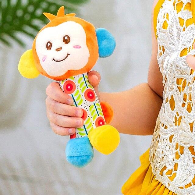 6 stile Baby Kinder Rassel Spielzeug Cartoon Tier Plüsch Hand Glocke Neugeborenen Baby Kinderwagen Krippe Hängen Rasseln Kawaii Baby Infant spielzeug