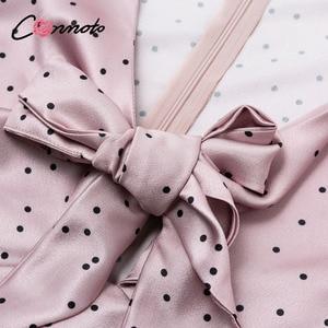 Image 5 - Conmoto femmes 2019 automne hiver robe rose à pois nœud Satin longue robe élégante lanterne à manches longues Maxi robe de soirée Vestidos