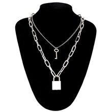 Ожерелье в стиле панк с замком, цепочка с замком, ожерелье с подвеской для женщин и мужчин, готические ювелирные изделия, черные/Золотые/серебряные цепочки, ювелирные изделия