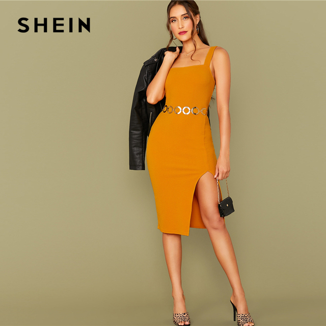 SHEIN Bright Yellow Solid Split Hem Sexy Thick Strap Dress Without Belt Women 2019 Autumn Sleeveless Night Out Bodycon Dresses