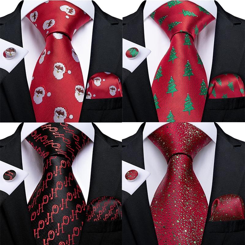 Gift Men Tie Red Green Snowman Tree Animal Silk Christmas Tie For Men Halloween DiBanGu Novelty Design Hanky Cufflink Men Tie Set