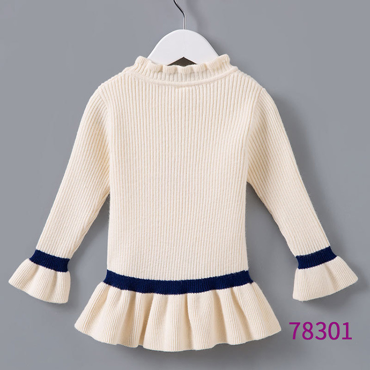 Momoidea Childrenswear Women's New Style Spring And Autumn Winter Style Knitted Thermal Base Clothing Flounced Sleeves Sweater T