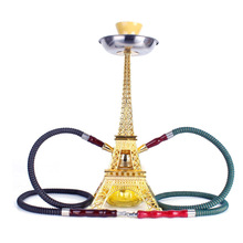 New Metal Paris Tower Shisha Pipe Glass Base Hookah Set with Double Hoses Cerami